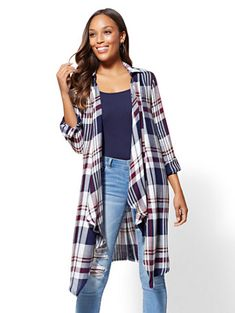 Plaid Open-Front Maxi Shirt - New York & Company Maxi Shirts, Summer Outfits, Cute Outfits, Pretty Dresses, Kimono Top, Casual Weekend, York, Red Plaid, Stylish