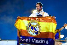 UEFA Champions League, Finale, Real Madrid vs Atletico Madrid, Siegesfeier. Bild zeigt den Jubel von Madrid. Keyword: Fahne. Foto: GEPA pictures