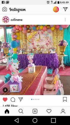 Unicorn centerpieces Unicorn Themed Birthday Party, Unicorn Birthday Parties, Unicorn Party, Birthday Party Themes, 5th Birthday, Birthday Ideas, Girl Birthday Decorations, Birthday Party Centerpieces, Unicorn Centerpiece