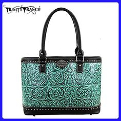 b2d5577f356db8 New Trinity Ranch Floral Tooled Leather Tote- Turquoise/Black - Shoulder  bags (*
