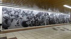 Dragon Quest chalk mural by teenager ReneRena in Shinjuku Station, Japan, 5/16 (LP)