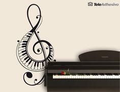 Wandtattoos Im Violinschlüssel mit Klaviertasten