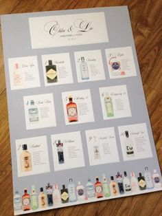 Gin themed table plan wedding seats guest names handcrafted in Scotland Wedding Seating, Wedding Table, Table Plans, Gin, Scotland, Wedding Planning, Names, How To Plan, Design