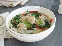 Chicken Noodle Soup with Coriander Chicken Balls