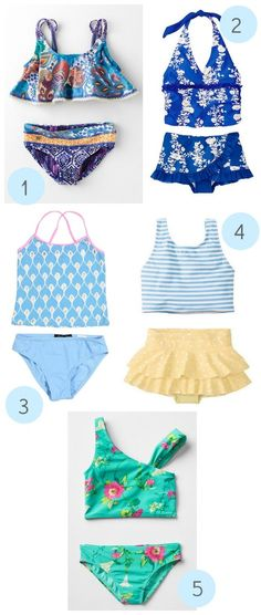 The best girly two-piece swimsuits that are still modest. Because, you know, they're still kids.