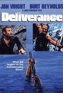 "Deliverance.  This movie can be enjoyed on more than one level.  Intellectual: Technology and modern society threaten nature and tradition.    Lewd:  ""I wanna hear you squeal like a pig!"""