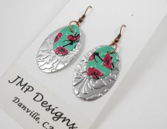 Simple Oval Earrings. Recycled Soda Can Art. DOUBLE-sided. Embossed. AZ Tea $9.95