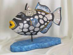 Raku escultura de cerámica animal de pez piedra arenisca Jean-Pierre Meyer