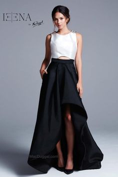 d0cd1a9eb8d New Retail   498 IEENA For Mac Duggal Style 25000I HI low gown Black white  SZ