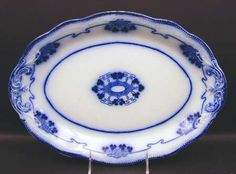 """Grindley Lorne (Flow Blue) 14"""" Oval Serving Platter"""