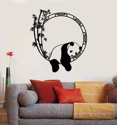 Us 797 25 Off Funny Animal Wall Decal Panda Bamboo Japanese Decor Vinyl Stickers Unique Home Decorative Wall Stickers Removable Poster In Simple Wall Paintings, Creative Wall Painting, Wall Painting Decor, Diy Wall Art, Diy Wall Decor, Art Decor, Wall Decor Stickers, Vinyl Wall Decals, Black Wall Stickers