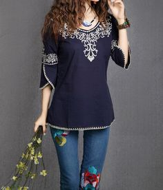 3/4 Sleeves Scoop Neck Ethnic Totem Pattern Embroidered Bordered Ladylike Women's BlouseVintage Blouses   RoseGal.com