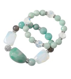 Polynesia #stretch #mint #calcite #chalcedony #feldspar #gypsum #grayagate #liasophia #Bracelets www.liasophia.com/dazzlingdianne Mint Jewelry, Jewelry Box, Stretch Bracelets, Beaded Bracelets, Crystal Bouquet, Lia Sophia, Agate Beads, Turquoise Bracelet, Jewelry Design