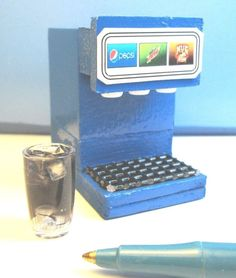 Miniature 3-Flavor Soda Fountain Machine with Filled Glass : Dollhouse LB353