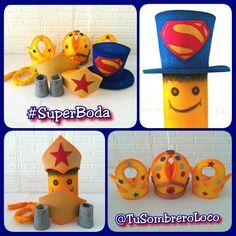 SuperBoda Sombrero de Superman para el novio, tiara,  cinturón,  brazaletes y lazo Mujer Maravilla para la novia y coronas para los suegros Contactos TuSombreroLoco Cel/sms/wapp: 0424-9659430 BB pin: 792AC1BD