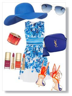 """Summer in Blue"" by shrougsd on Polyvore featuring Accessorize, Karen Millen, Sophia Webster, Yves Saint Laurent, Christian Dior, Oscar de la Renta and Dolce&Gabbana"