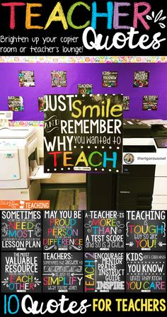 Teacher Quotes: boost moral, encourage motivation, ignite inspiration! These quotes posters for teachers are the perfect way to brighten up your copier room or teacher's lounge.