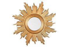 Sunburst Mirror, Gold Leaf   I love the design, but would tone the gold down.