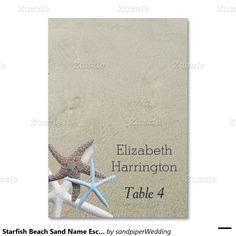 Starfish Beach Sand Name Escort Cards Table Cards
