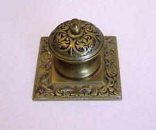 Antique Brass Inkwell - With Beautiful Art Nouveau Style Decoration