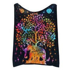 Indian Elephant Tapestry Colored Printed Decorative Mandala Tapestry Boho Wall Carpet Hippie Wall Hanging