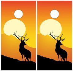 Buck Deer Silhouette Hunting Cornhole Decal Wrap