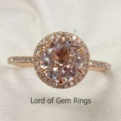 Round Morganite Engagement Ring Pave Diamond Wedding 14K Rose Gold 8mm Six Prongs - Lord of Gem Rings - 1