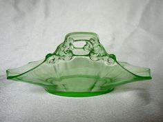 Cambridge Glass Vaseline Glass Decagon Dish by JulianosCorner - SOLD
