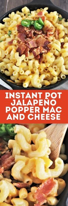 This creamy, cheesy, and hearty Instant Pot Jalapeño Popper Mac and Cheese is taken to the next level with bacon, cream cheese, and jalapeños. Great Recipes, Dinner Recipes, Favorite Recipes, A Food, Good Food, Tasty Bites, International Recipes, Mac And Cheese, Instant Pot