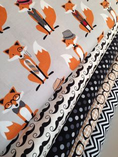 "Custom ""What does the fox say"" fox, mustache, eye glasses, hats and ties boy/girl unisex crib bedding set"