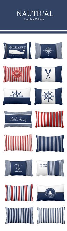 Nautical lumbar pillows with stripes, anchors, ships wheel, nautical star, paddles, sailing boat, whale in nautical colours - navy blue, red and white. #nautical #pillows #decor #anchor