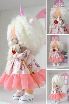 Cloth doll Fabric doll Handmade doll Baby doll Soft doll white pink colors Rag…