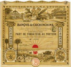 Banque de Cochinchine #Paris, ca. 1908, Part de Fondateur au Porteur, #7976, 28.5 x 31 cm, brown, red, horizontal fold, coupons, superb, red sun.