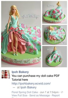 Spring Barbie cake by Ipoh Bakery. Tutorial for modern Barbie cakes… Barbie Torte, Bolo Barbie, Barbie Doll, Pretty Cakes, Cute Cakes, Beautiful Cakes, Yummy Cakes, Birthday Cake Girls, Barbie Birthday