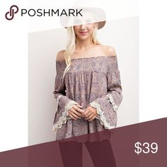Floral and lace off-shoulder top Floral and Lace off-shoulder top  Paisley floral design with feminine crocheted lace detailing on the bell sleeves.   Color is mocha.  100% Rayon Fits TTS Tops Blouses