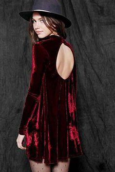 Oh My Love Velvet Open-Back Swing Dress - Urban Outfitters