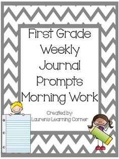 his set of journal prompts includes 5 prompts for each month, months September through June, and are designed for first grade.  The prompts are perfect to use as a weekly morning work center, but can also be used as a weekly journal assignment, as a part of writing workshop, as a choice or menu activity for students who finish other assigned work early, as a weekly or monthly writing check-in or assessment or as a part of your literacy centers.