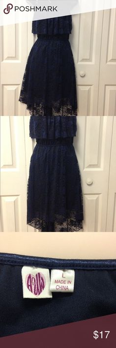 Navy  Hilow dress Cute navy lace dress. Stretchy fabric. Elastic waist. Hilow hemline. Adjustable straps. AUW Dresses High Low