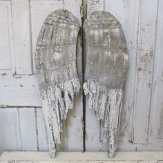 Gray angel wings wall decor Nordic inspired taupe white w/ rusty accents French farmhouse wood metal wing set home decor anita spero design
