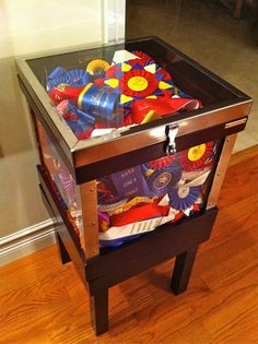 ribbon storage, should do this as an end table in the living room! So many rubbons I don't know whag to do with