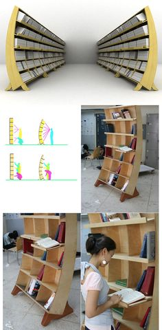 The amazing furniture works of Bae Se-hwa, part 2 - Core77.  Clever design for bookshelves enables easier viewing--less neck twisting, bending and squinting.