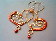 Wire Wrapped Heart Copper Earrings