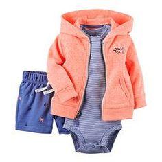 Baby Boy Carter's Nautical Hooded Cardigan & Shorts Set