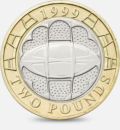 1999 Rugby World Cup £2 coin http://www.royalmint.com/discover/uk-coins/coin-design-and-specifications/two-pound-coin/1999-rugby-world-cup