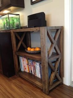 Rustic X Bookshelf--Short | Do It Yourself Home Projects from Ana White Follow me on twitter @fernanmedequill