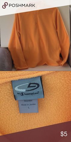 2ee1645fb6931 Orange Fleece Workout Shirt This is a lightweight fleece workout shirt. Size  large and Champion brand.