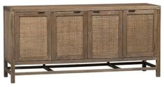 This contemporary console offers scads of storage and a hint of groovy retro style. It's a great piece for the home office, television room or dining room.