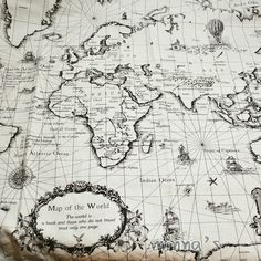 map fabric- would make an awesome pillow Old Maps, Antique Maps, Map Tattoos, Sleeve Tattoos, Diy Quilting Projects, World Map Fabric, Map Wallpaper, Geniale Tattoos, Map Globe