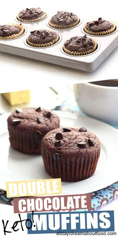 keto double chocolate muffins are the perfect treat! Dairy-free and low carb, the batter is easy to whip up in your blender in a matter of minutes. Add a few sugar-free chocolate chips for an extra decadent treat. Double Chocolate Chip Muffins, Sugar Free Chocolate Chips, Chocolate Recipes, Best Low Carb Recipes, Keto Recipes, Dessert Recipes, Protein Recipes, Dinner Recipes, Jelly Recipes
