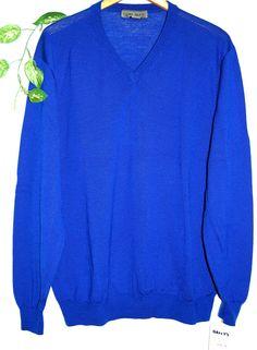 Uomo Bravo Mens Blue Wool V-Neck Sweater Shirt Size XL  NEW #UomoBravo #VNeck